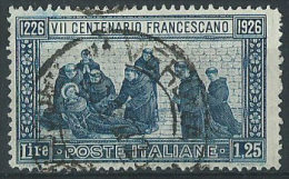 Italia 1926 Usato - S.Francesco £ 1,25 Dent.14 Normale Centratura VEDI SCAN - Usados