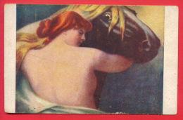 "156184 / Horse Cheval Hauspferd  -  "" Walküre "" NUDE WOMAN By  Germany Art Ferdinand Keller - 2172 J.P.P. - Paarden"