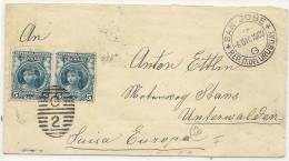 1908 2 5 Centesimos Blau Auf Brief In Die Schweiz - Uruguay