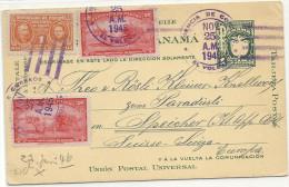 1945 Ganzsache Mit Zusatzfrankatur  In Die Schweiz - Panama