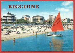 CARTOLINA VG ITALIA - RICCIONE (RN) - Alberghi E Spiaggia Visti Dal Mare - 10 X 15 - ANNULLO RICCIONE - Rimini