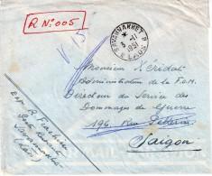 """INDOCHINE : LETTRE REC . 1951 . DE """" SAVANNAKHET """" . LAOS POUR SAIGON . - Briefe U. Dokumente"""
