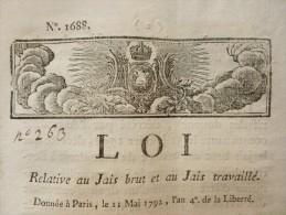 LOI RELATIVE AU JAIS BRUT ET AU JAIS TRAVAILLE - Documents Historiques