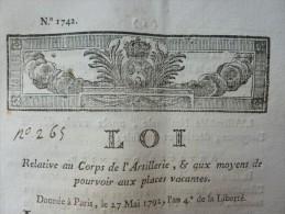 LOI RELATIVE AU CORPS D ARTILLERIE ET AUX MOYENS DE POURVOIR AUX PLACES VACANTES - Historische Dokumente