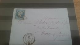 LOT 231929 TIMBRE DE FRANCE OBLITERE N�22 SUR LETTRE LOSANGE GC+ PETIT CACHET A DATE