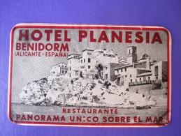 HOTEL RESIDENCIA PENSION HOSTAL PLANESIA BENIDORM ALICANTE SPAIN LUGGAGE LABEL ETIQUETTE AUFKLEBER DECAL STICKER MADRID - Hotel Labels