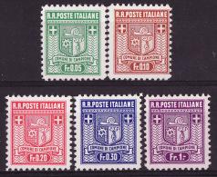 1944 ** Nos. 1B � 5B  La s�rie luxe   CAMPIONE D'ITALIA   dentelure 11