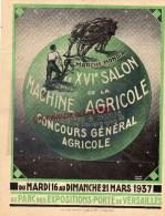75 - PARIS - BELLE PUBLICITE XVIE SALON MACHINE AGRICOLE- 1937- PORTE VESAILLES- 88- EPINAL- HALBRONN FRERES - France