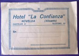 HOTEL RESIDENCIA PENSION CONFIANZA NOVELDA ALICANTE SPAIN LUGGAGE LABEL ETIQUETTE AUFKLEBER DECAL STICKER MADRID - Hotel Labels