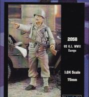 "- VERLINDEN - Figurine "" U S G.I. WWII Europe "" - 75 Mm Ou 1/24° - Réf 2058 - Figurines"