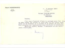 Letre (A5) à Entête De Mr. Edgard Hondermarcq, Avocat à COUVIN  (b156) - Factures & Documents Commerciaux