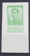 Belgique Essai S.M. Le Roi Albert 1er - 123 *** 10 Cent Vert - Non Dentelé - 1913 - Essais & Réimpressions