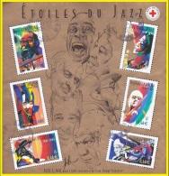 France Oblitération Cachet à Date BF N°  50 (3500a à 3505a) Interprètes De Jazz - Sheetlets