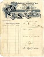 82  CAUSSADE  -  MANUFACTURE DE CHAPEAUX DE PAILLES   SOLMIQUEL  -  FACTURE 1896 - Petits Métiers