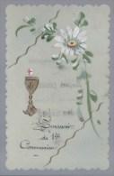 411Go   Carte En Celuloïd Peint à La Main Premiere Communion Josephine Cessier église De Ste Elisabeth à Situer 1912 - Comuniones