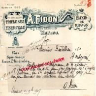 PAYS BAS - ANVERS- BELLE FACTURE A. FIDON- DISTILLATEUR-ELIXIR DE KROON-TRIPLE SEC- 2-4 RUE LEOPOLD-1907 - Netherlands