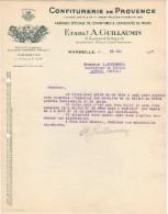13 MARSEILLE FACTURE 1937 CONFITURERIE DE PROVENCE   Etab. A. GUILLAUMIN   - B40 - France
