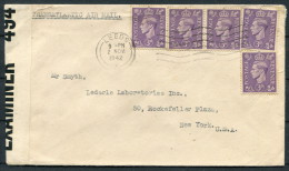 1942 GB Leeds / Manchester Airmail Covers - USA. 3 Different PC 90 Censor Strips - 1902-1951 (Kings)