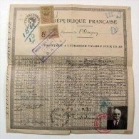 FRANCE 1926 PASSPORT - PASSEPORT - PREFECTURE DE  L´AVEYRON -  VF  FRANCE REVENUE STAMPS (cancelled 1896)  & ARGENTINA - Documentos Históricos