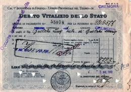 DEBITO VITALIZIO DELO STATO-CREMONA-5-4-1949 - Azioni & Titoli
