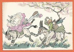 Nov101, Balade à Dos D'âne, Donkey, Esel, Asino,pic-nic, Rodéo ,GF ,fantaisie, Non Circulée - Humour