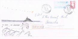 Dessin Stilisé D´ Un Pêcheur Devant Le Mont Saint Michel Sur Un PAP Type Briat ; CàD De Genêt ( Manche ) Du 28-10-1997 - Bolli Manuali