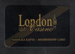 BULGARIA  LONDON CLUB CASINO SOFIA  - MEMBERSHIP CARD -
