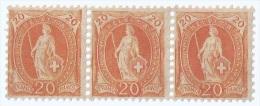 1882-1904 SWITZERLAND STANDING HELVETIA 20C STRIP OF 3 STAMPS MNH (S-91) - Neufs