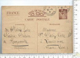 ENTIER POSTAL: Type Iris, Famille Colle- Halin évacuée, Juin 1941, Nouzonville Pour Laussonne - Entiers Postaux