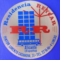 HOTEL RESIDENCIA PENSION HOSTAL REYCAR ALICANTE SPAIN LUGGAGE LABEL ETIQUETTE AUFKLEBER DECAL STICKER MADRID - Hotel Labels
