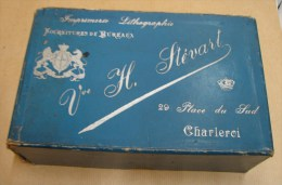 Boite. 7. Ancienne Boîte De Fournitures De Bureaux Veuve H. Stévart, 29 Place Du Sude à Charleroi - Boîtes