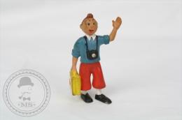 Vintage 1986 Herge/ Lombard Tintin With Yellow Suitcase PVC Figure - Tintin