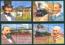 TH Nevis 1985 Great Western Railway Train Trains Locomotives Set 8v MNH Specimen - Trains