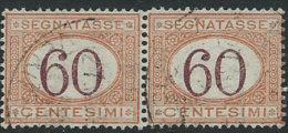 Italia 1890/4 Usato - Segnatasse 60c Coppia Firmato Chiavarello; Il 1° Con Ottima Centratura VEDI SCAN - 1900-44 Vittorio Emanuele III