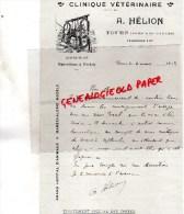 37 - TOURS - BELLE FACTURE CLINIQUE VETERINAIRE  A. HELION - PRES LES HALLES- CHIRURGIE -1913 - France
