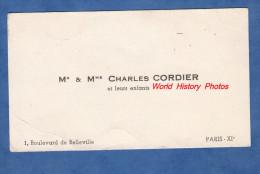 Carte De Visite Ancienne - PARIS 11e - M. & Mme Charles CORDIER Et Leurs Enfants - 1 Boulevard De Belleville - Cartes De Visite