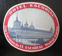 HOTEL RESIDENCIA PENSION HOSTAL EL ESCORIAL MADRID SPAIN LUGGAGE LABEL ETIQUETTE AUFKLEBER DECAL STICKER - Hotel Labels