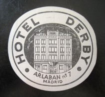 HOTEL RESIDENCIA PENSION HOSTALCAMPING DERBY MADRID SPAIN LUGGAGE LABEL ETIQUETTE AUFKLEBER DECAL STICKER - Hotel Labels