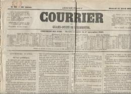 Journal Gd Duché De Luxembourg Du 11/4/1862 C. Rouge Luxembourg AMB Forbach (VDL 1946 Rare PR1374 - Luxembourg