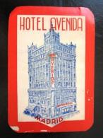HOTEL RESIDENCIA PENSION HOSTAL CAMPING AVENIDA MADRID SPAIN LUGGAGE LABEL ETIQUETTE AUFKLEBER DECAL STICKER - Hotel Labels