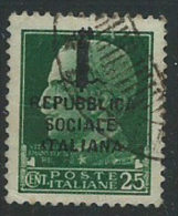 Italia 1944 RSI Usato - 25c - 4. 1944-45 Repubblica Sociale