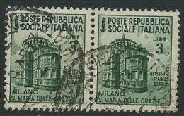 Italia 1944 RSI Usato - £ 3 Coppia; Annullo 20-9-45 - 4. 1944-45 Repubblica Sociale