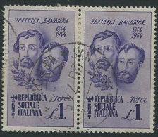 Italia 1944 RSI Usato - Fratelli Bandiera £ 1 Coppia - 4. 1944-45 Repubblica Sociale