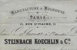 RARE FACTURE STEINBACH KOECHLIN ET CIE PARIS MANUFACTURE INDIENNES MULHOUSE 1874 B.E.+ V.SCANS+ HISTORIQUE - France
