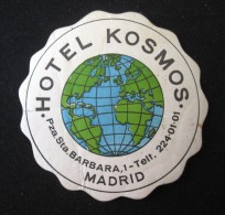 HOTEL RESIDENCIA PENSION HOSTAL CAMPING KOSMOS MADRID SPAIN LUGGAGE LABEL ETIQUETTE AUFKLEBER DECAL STICKER - Hotel Labels