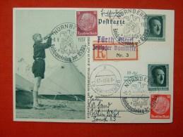 Per Einschreiben Gelaufene Bild-Ganzsache Vom Zeltlager In Fürth Mit Bunter Frankatur Von Deutsches Reich - Allemagne