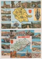 LOT  DE 10 CARTES DEPARTEMENTALES AVEC VILLES - CREUSE, TARN, VIENNE, MARNE, MEURTHE ET MOSELLE, COTE DU NORD..... - Cartoline