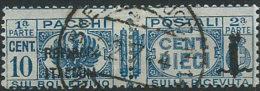 Italia 1944 Luogotenenza/Regno Usato - Pacchi Postali Fascetto 10c Azzurro - 5. 1944-46 Lieutenance & Umberto II