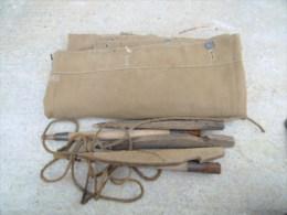 Lot Complet Toile De Tente Francaise Mle 1888 Pas Datée + Piquets De Tente + Sardines + Cordeaux Paquetage De Poilus - 1914-18