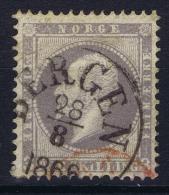 Norway: Yv Nr 3 1856 Used Extra Red Cancel - Gebruikt